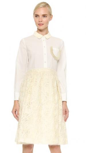Платье с вышивкой Rose Leur Logette. Цвет: оттенок белого