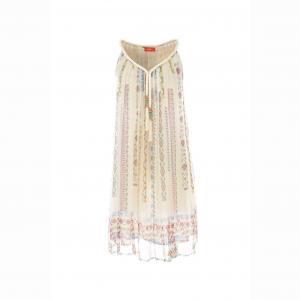 Платье из вуали с принтом и декором RENE DERHY. Цвет: экрю
