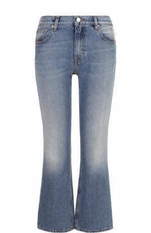 Укороченные расклешенные джинсы с потертостями Iro. Цвет: голубой