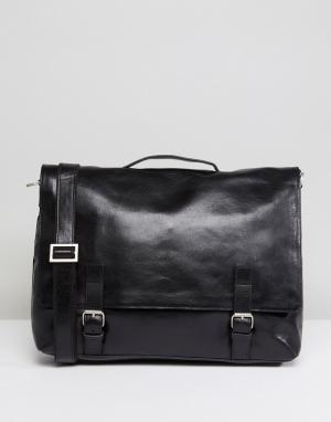 Royal RepubliQ Кожаная сумка почтальона Essential. Цвет: черный