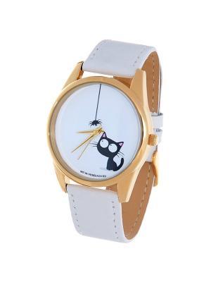 Часы Mitya Veselkov Кошка и паучок. Цвет: белый