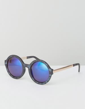 Black Phoenix Круглые матовые солнцезащитные очки с голубыми зеркальными линзами Bla. Цвет: синий