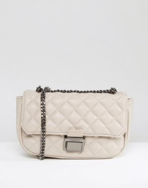 Marc B Серая стеганая сумка на плечо. Цвет: серый