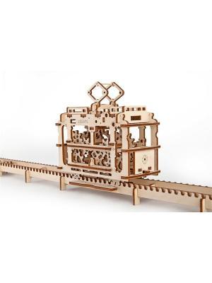 Конструктор 3D-пазл Ugears - Трамвай с рельсами. Цвет: светло-желтый