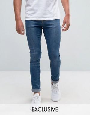 Brooklyn Supply Co. Выбеленные зауженные джинсы Co Contrast. Цвет: синий