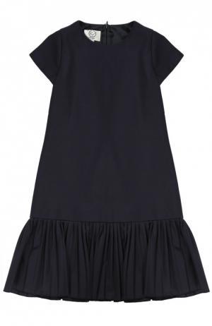Платье А-силуэта с плиссированной оборкой Caf. Цвет: синий