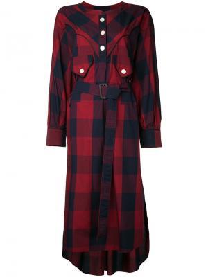 Платье в клетку Maison Mihara Yasuhiro. Цвет: красный