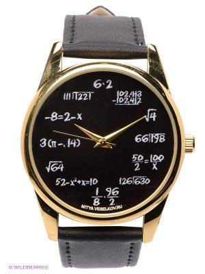 Часы Грифельная доска Mitya Veselkov. Цвет: черный