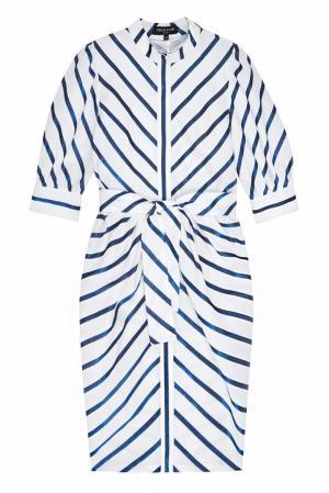 Платье с люрексом Viva Vox. Цвет: белый, синий