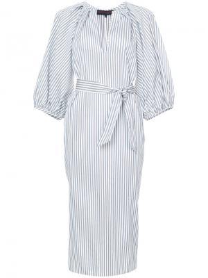 Полосатое платье-рубашка кроя миди Martin Grant. Цвет: белый