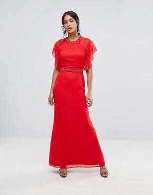 Elise Ryan Платье макси с отделкой и рукавами клеш. Цвет: красный