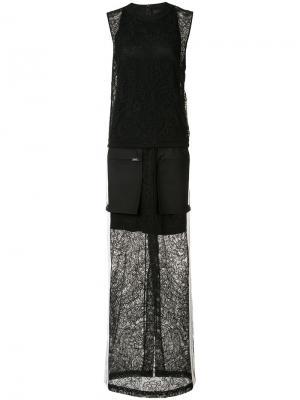 Длинное платье с накладными карманами Vera Wang. Цвет: чёрный