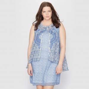 Платье из набивной ткани с рисунком пейсли TAILLISSIME. Цвет: наб. рисунок синий