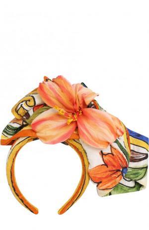 Ободок с декоративным цветком Dolce & Gabbana. Цвет: желтый