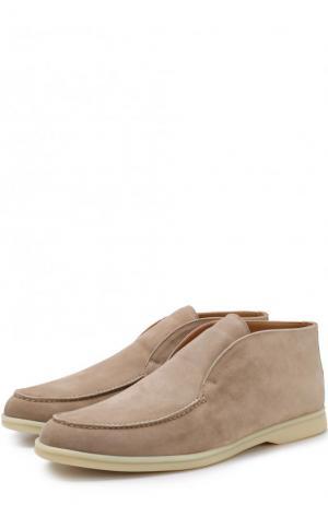 Замшевые ботинки Open Walk без шнуровки Loro Piana. Цвет: бежевый