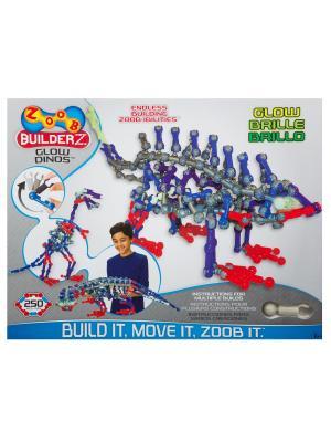 Подвижный конструктор Светящийся Динозавр  ZOOB 14004. Цвет: красный, прозрачный, серый, синий, фиолетовый