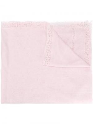 Платок с кружевной отделкой Ermanno Scervino. Цвет: розовый и фиолетовый