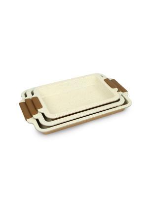 Формы для выпечки с мраморно-керамическим покрытием и силиконовыми ручками 3 шт Peterhof. Цвет: золотистый