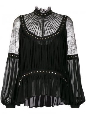 Блузка с кружевными вставками и заклепками-сердцами Elie Saab. Цвет: чёрный