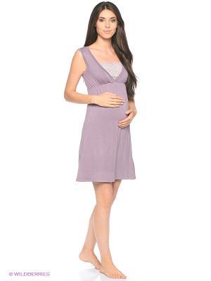 Ночная сорочка для беременных и кормления 40 недель. Цвет: сиреневый