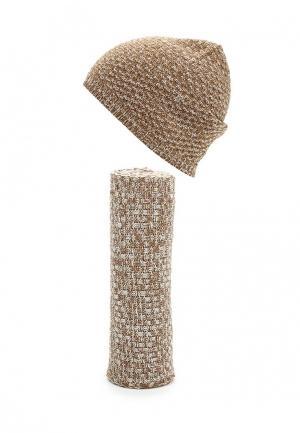 Комплект шапка и шарф Venera. Цвет: коричневый
