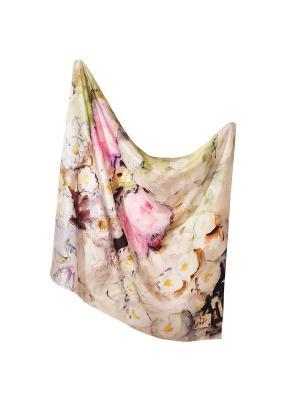 Платок Опять лето, 90х90 см ArtNiva. Цвет: салатовый, розовый