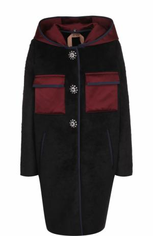 Пальто с накладными карманами и капюшоном No. 21. Цвет: черный
