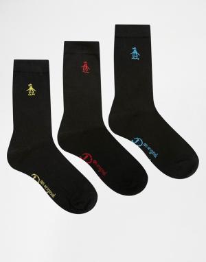 Penguin Набор из 3 пар черных носков с разноцветной вышивкой. Цвет: черный