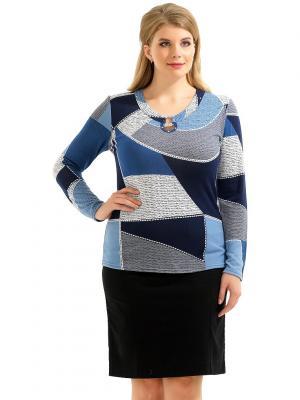 Блузка LikModa. Цвет: синий, голубой, серый