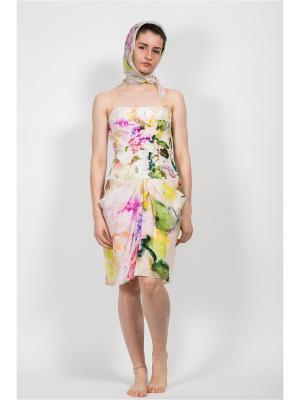 Платок Сирень, 130х130 см ArtNiva. Цвет: светло-зеленый, сиреневый