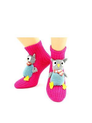 Носки-тапочки HOBBY LINE. Цвет: серый, розовый