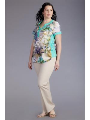 Блузка AVERI. Цвет: бирюзовый, светло-зеленый, светло-коричневый, белый