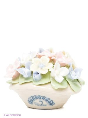 Композиция Горшочек с цветами Pavone. Цвет: светло-бежевый, зеленый