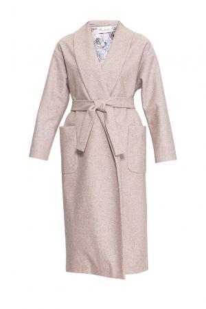 Пальто с поясом 163471 Private Sun. Цвет: бежевый
