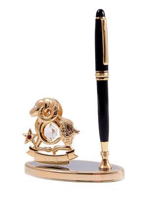 Подставка под ручку - знак зодиака Овен CRYSTOCRAFT. Цвет: золотистый, черный