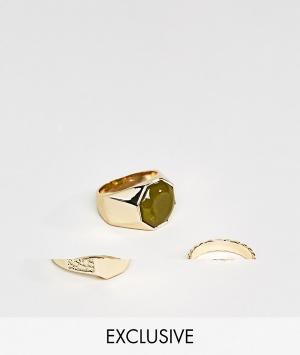 DesignB London Набор из 3 колец эксклюзивно для ASOS. Цвет: золотой