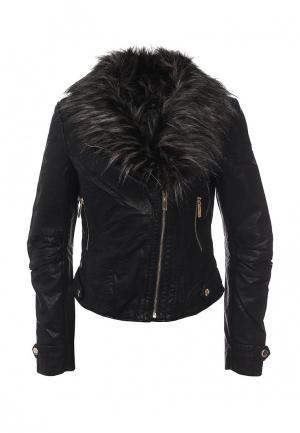 Куртка кожаная QED London. Цвет: черный