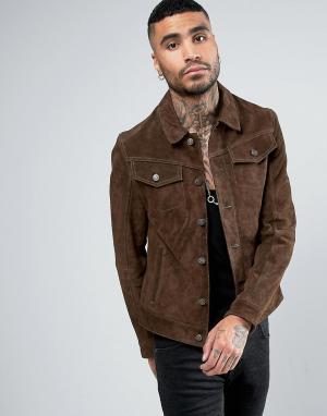 Goosecraft Suede Western Jacket. Цвет: коричневый
