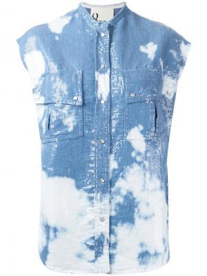Рубашка с пайетками 8pm. Цвет: синий