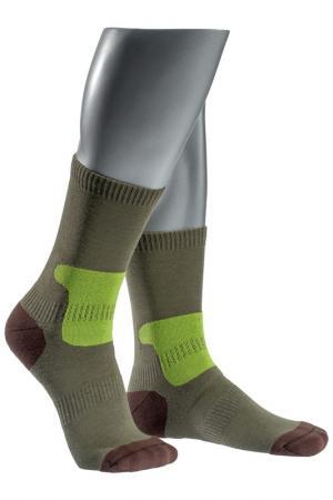 Носки спортивные ASKOMI. Цвет: зелено-коричневый