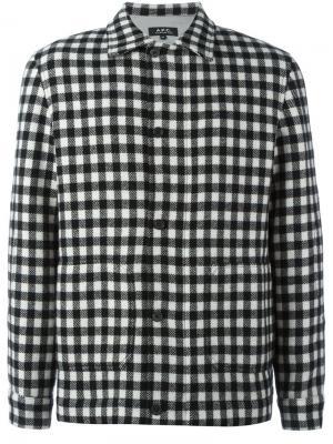 Куртка-бомбер в клетку A.P.C.. Цвет: чёрный