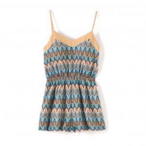 Комбинезон с шортами, геометрический узор MOLLY BRACKEN. Цвет: синий/ бежевый