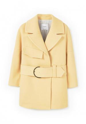 Пальто Mango. Цвет: желтый