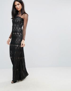 Forever Unique Платье макси с длинными рукавами и кружевом. Цвет: черный