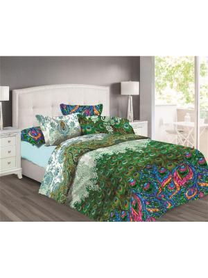 Комплект постельного белья 1,5 бязь Павлины Любимый Дом. Цвет: зеленый