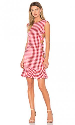 Платье из рубашечной ткани FAME AND PARTNERS. Цвет: красный