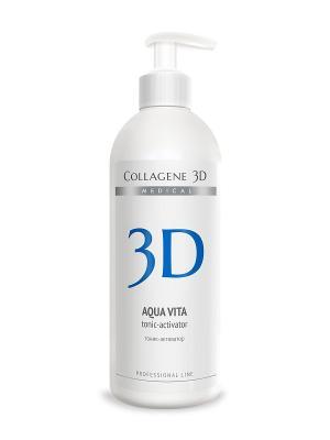 Тоник - активатор AQUA VITA  для активации биопластин и апликаторов вода 500 мл Medical Collagene 3D. Цвет: синий, белый