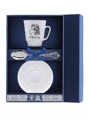 Набор чайный Майская - А.С. Пушкин 3 предмета + футляр АргентА. Цвет: серебристый