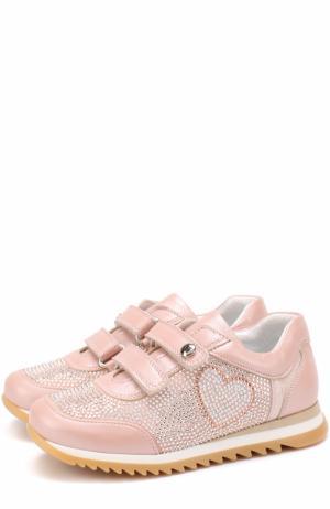 Комбинированные кожаные кроссовки с декором из страз и застежками велькро Missouri. Цвет: розовый