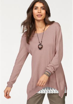 Удлиненный пуловер BOYSENS BOYSEN'S. Цвет: бордовый, дымчато-розовый, светло-серый